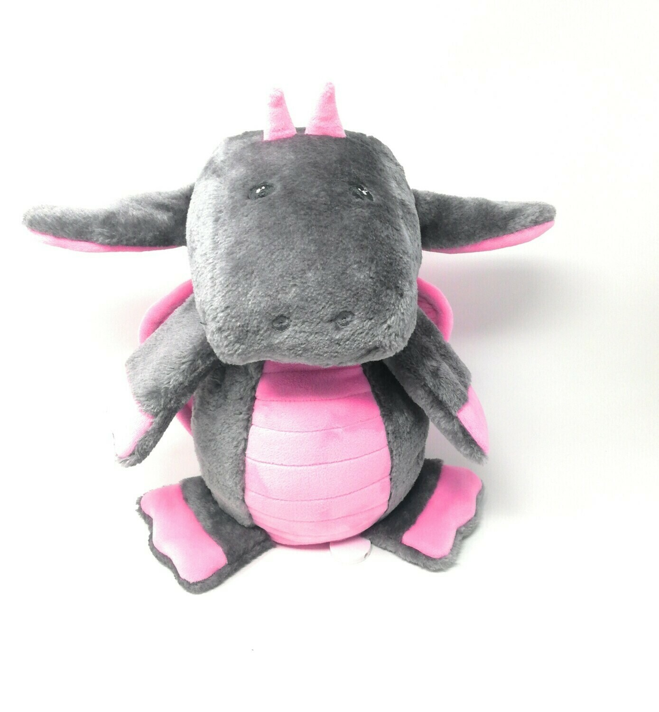Personalisierte Spieluhr Drache in grau-rosa Gr. 30 cm, Kuscheltier Drache mit Namen und Wunschmelodie, süßes Geschenk für Geburt, Taufe, Geburtstag