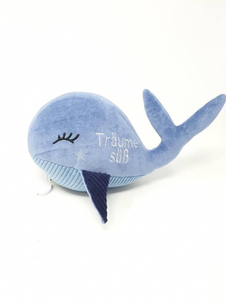 Kuscheltier Wal für Spieluhr in blau, 25cm groß, Öko Baumwolle,  austauschbare Spieluhr, Mit Geheimtasche mit Reißverschluss. Sofort lieferbar