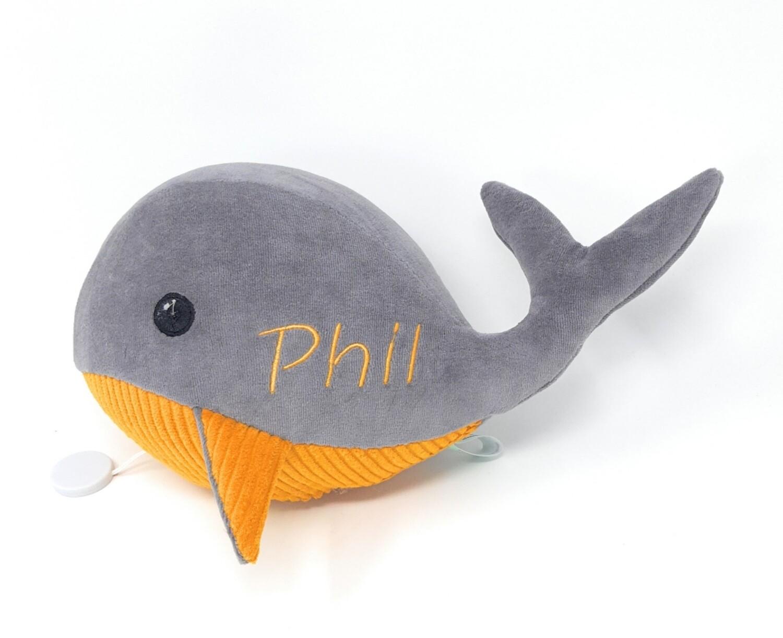 Kuscheltier Wal für Spieluhr grau- senfgelb: mit Namen und Wunschmelodie, aus ökologischen Baumwolle Stoffen, optional austauschbare Spieluhr mit Geheimtasche/Reißverschluss