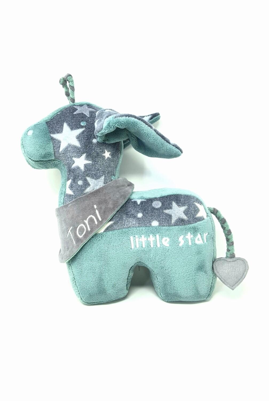 Tier-Kissen Namenskissen Giraffe grau mint mit Namen für Spieluhr mit Wunschmelodie, aus Öko Teddy Plüsch, mit austauschbarer Spieluhr. Optional mit Geheimtasche/Reißverschluss