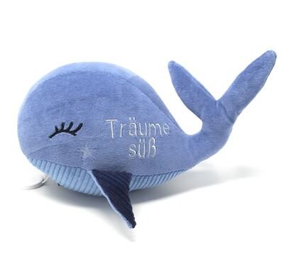 Kuscheltier Wal für Spieluhr rauchblau: mit Namen und Wunschmelodie, aus ökologischen Baumwolle Stoffen, optional austauschbare Spieluhr mit Geheimtasche/Reißverschluss