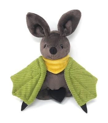 Personalisiertes Kuscheltier für Spieluhr Fledermaus braun grün Gr. 30 cm, Plüschtier Fledermaus mit Namen und Wunschmelodie, süßes Geschenk für Geburt, Taufe, Geburtstag
