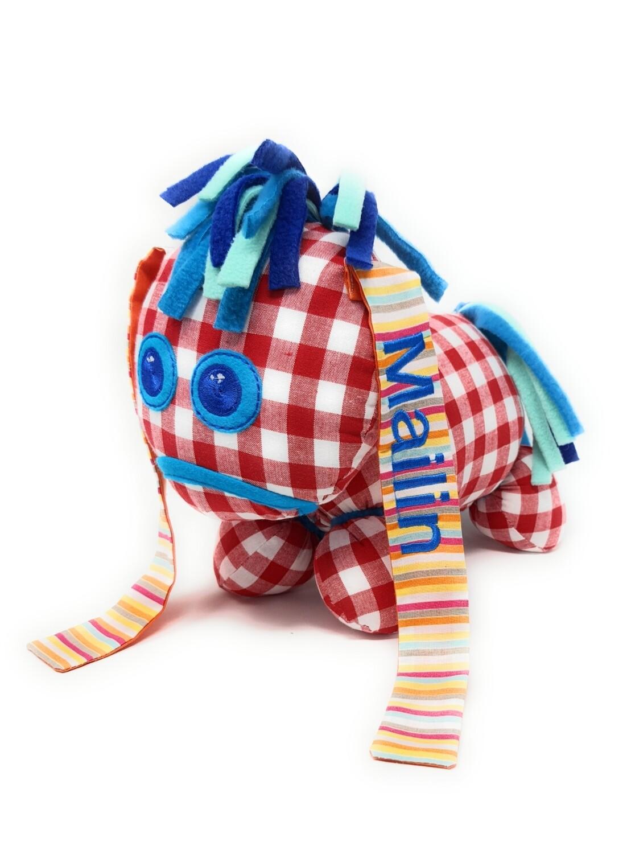 Das kleine Ich Bin Ich Stofftier rot personalisierbar mit Namen aus Öko Baumwolle, groß. Geschenk zum Geburtstag, Einschulung