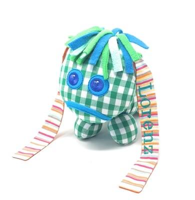 Das kleine Ich Bin Ich Stofftier grün personalisierbar mit Namen aus Öko Baumwolle, groß. Geschenk zum Geburtstag, Einschulung