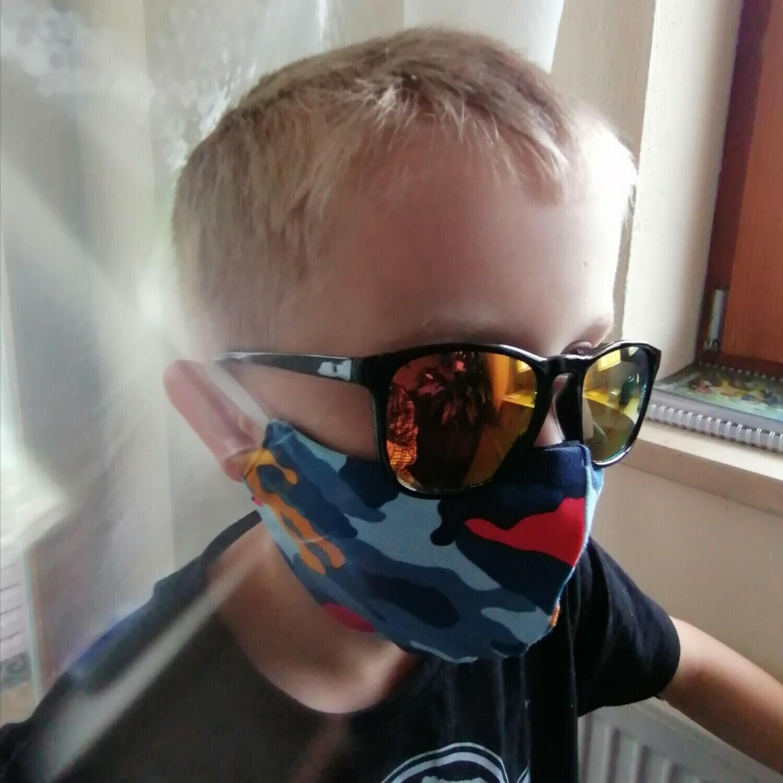 Behelfs Mundschutz Masken camouflage für Kinder und Erwachsene blau schwarz