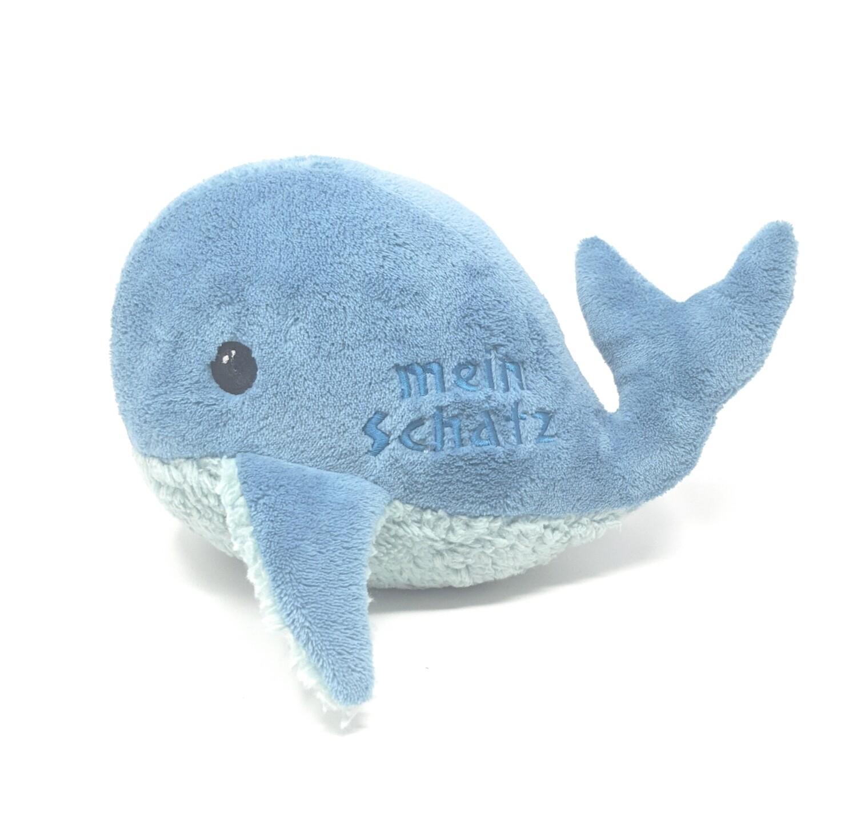 Kuscheltier Wal für Spieluhr Träum süß petrol mint, Baumwolle, mit austauschbarer Spieluhr, Geheimtasche mit Reißverschluss. Sofort lieferbar