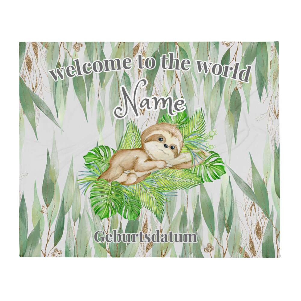 Personalisierte Baby Decke Faultier in Eukalyptus Wald ''welcome to the world""