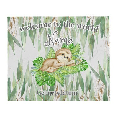 Personalisierte Baby Decke Faultier in Eukalyptus Wald ''welcome to the world