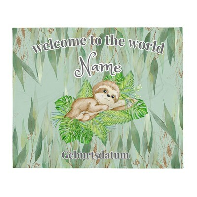 "Personalisierte Baby Decke Faultier in Eukalyptus Wald "" welcome to the world"""