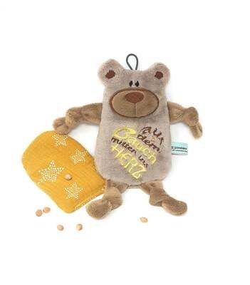Personalisiertes Plüschtier Baby Bär beige mit Namen als Wärmekissen oder Knister-Tuch und Schnullertasche. Ein süßes Baby Geschenk