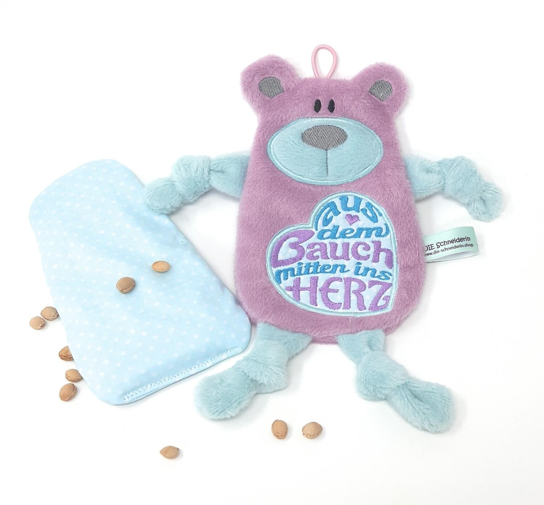 Personalisiertes Plüschtier Baby Bär mauve mint mit Namen als Wärmekissen oder Knister-Tuch und Schnullertasche. Ein süßes Baby Geschenk