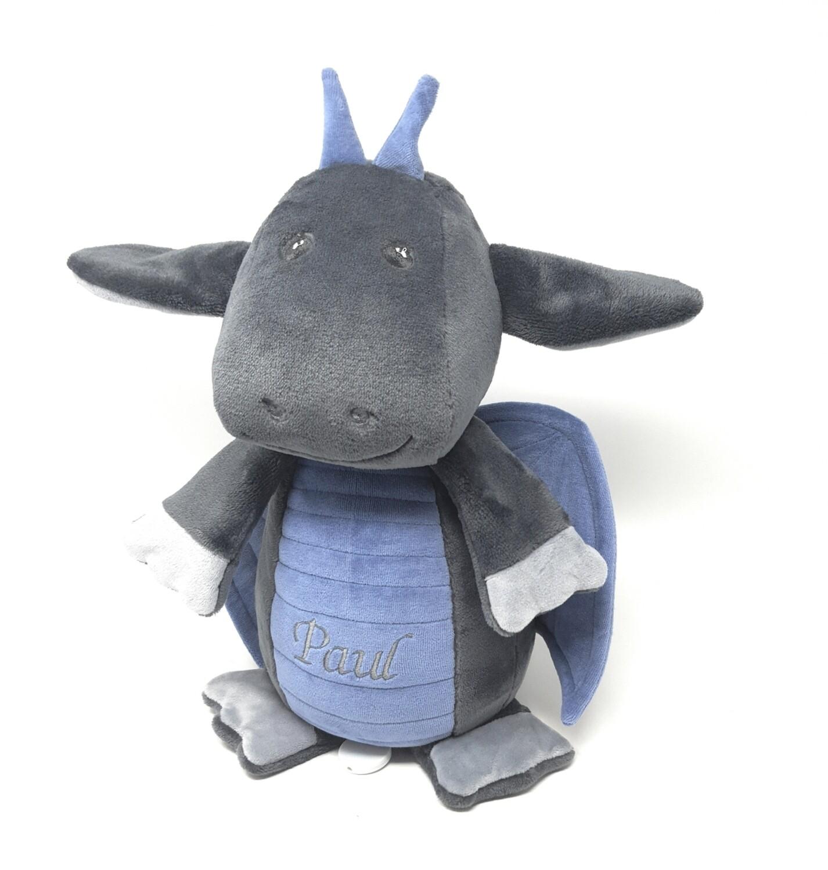 Personalisierte Spieluhr Kuscheltier Drache mit Namen und Wunschmelodie grau- blau, 30cm, süßes Geschenk für Geburt, Taufe, Geburtstag