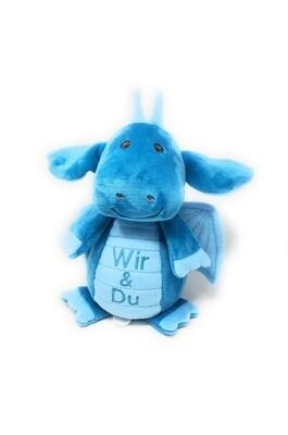 Personalisierte Spieluhr Kuscheltier Drache mit Namen und Wunschmelodie türkis, 30cm, süßes Geschenk für Geburt, Taufe, Geburtstag