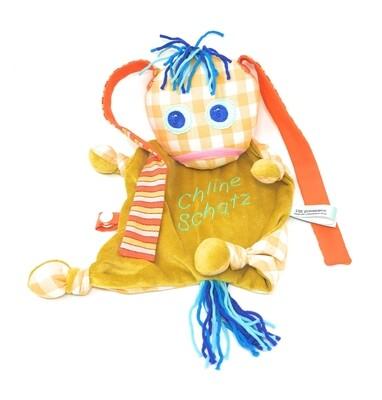 Das kleine Ich Bin Ich Stofftier Schmusetuch gelb personalisierbar mit Namen aus geprüften Materialen. Geschenk zur Geburt, Taufe, Patengeschenk