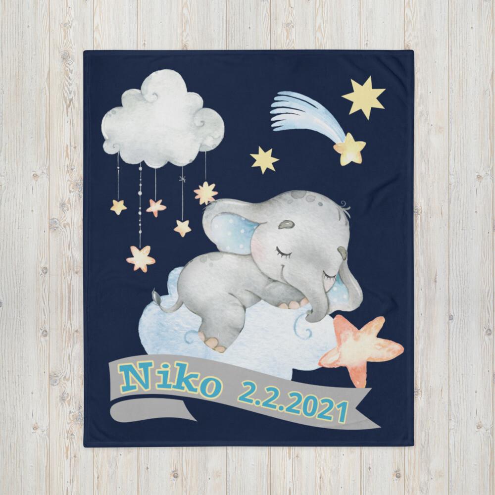 Tagesdecke Baby Elefant am Sternenhimmel personalisiert mit Namen dunkelblau