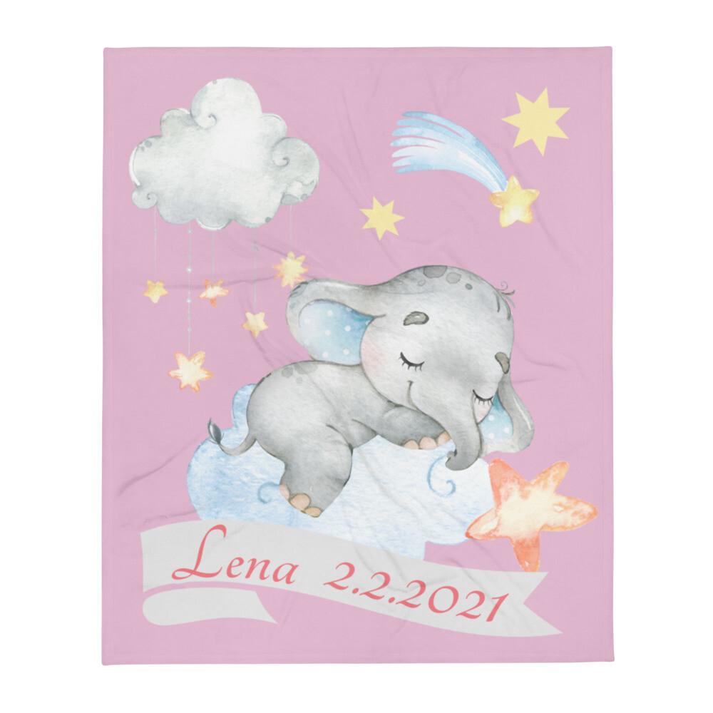 Tagesdecke Baby Elefant auf Wolke personalisiert mit Namen rosa