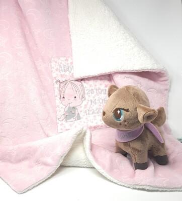 Babydecke personalisierbar: auf Wunsch bestickt mit Namen in deinem Wunschdesign. Kuscheldecke, Spieldecke, Kinderwagendecke mint Baumwolle