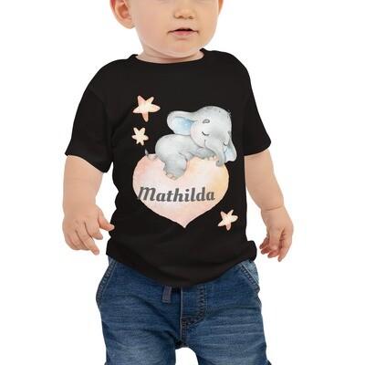 Kurzärmeliges Baby-Jersey-T-Shirt mit süßem Elefanten und Namen Druck