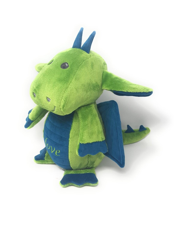 Personalisierte Spieluhr Drache smaragdgrün, Kuscheltier Drache mit Namen und Wunschmelodie, süßes Geschenk für Geburt, Taufe, Geburtstag