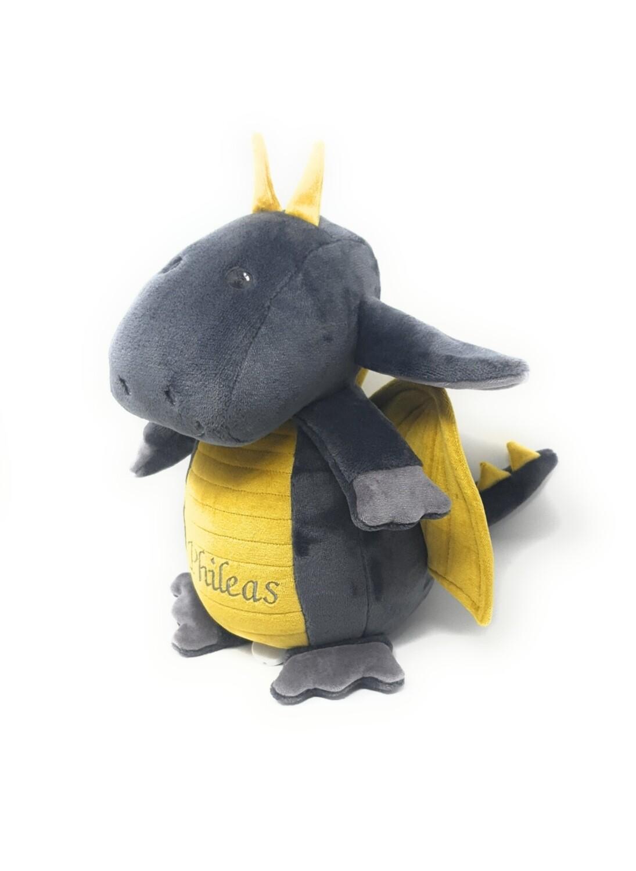 Personalisierte Spieluhr Drache in grau- senfgelb Gr. 30 cm, Kuscheltier Drache mit Namen und Wunschmelodie, süßes Geschenk für Geburt, Taufe, Geburtstag