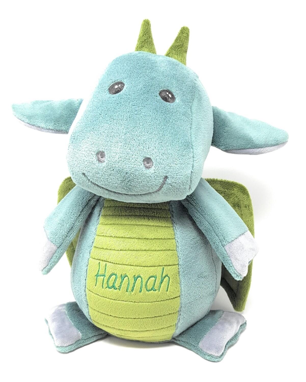 Personalisierte Spieluhr Drache in mint- smaragdgrün Gr. 30 cm, Kuscheltier mit Namen und Wunschmelodie, Geschenk für Geburt, Taufe, Geburtstag