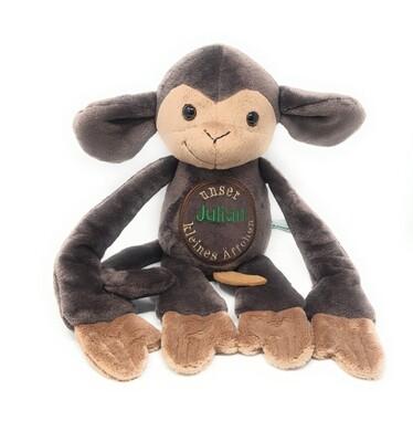 Personalisierte Spieluhr Affe braun Gr. 45 cm, Kuscheltier Affe mit Namen und Wunschmelodie, süßes Geschenk für Geburt, Taufe, Geburtstag
