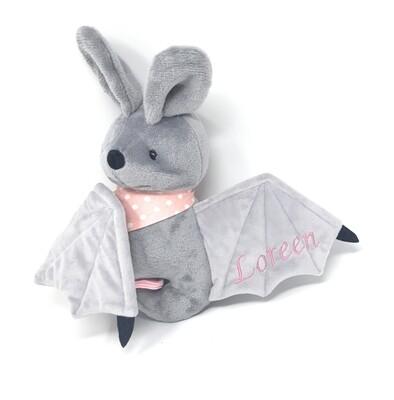 Personalisiertes Kuscheltier für Spieluhr Fledermaus grau-rosa Gr. 30 cm, Plüschtier Fledermaus mit Namen und Wunschmelodie, süßes Geschenk für Geburt, Taufe, Geburtstag