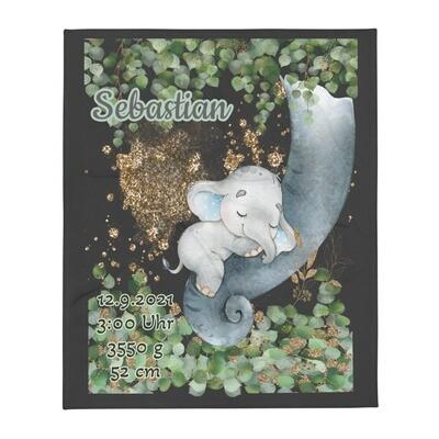 Personalisierte Decke Baby Elefant in Eukalyptus mit Namen und Geburtsdaten