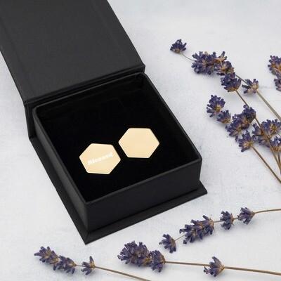 Sterling Silver Hexagon Stud Earrings - Ladies