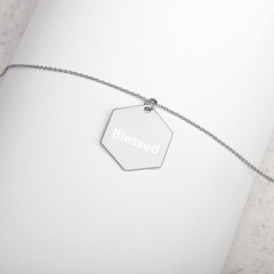 Engraved Silver Hexagon Necklace - Ladies