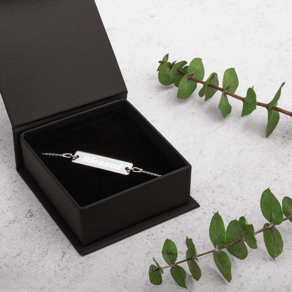 Blessed Silver Bar Chain Bracelet - Ladies