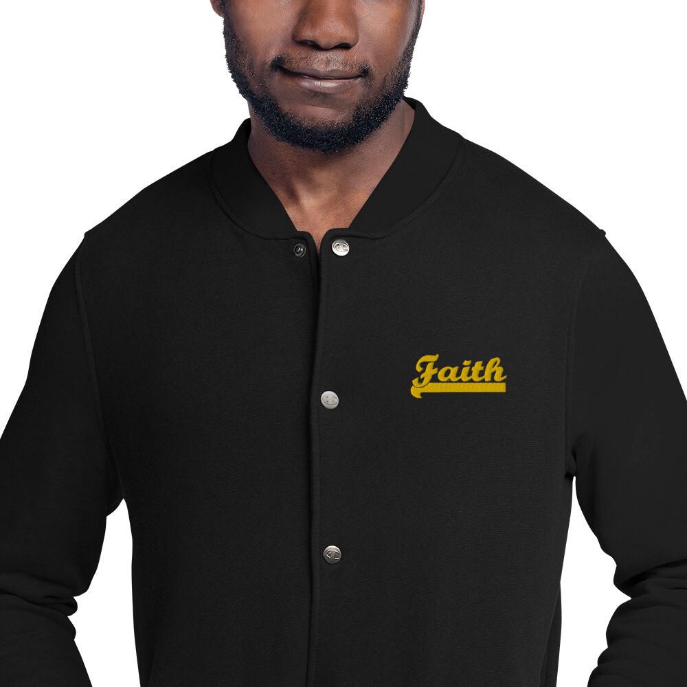 Bold Faith Embroidered Champion Bomber Jacket - Men's