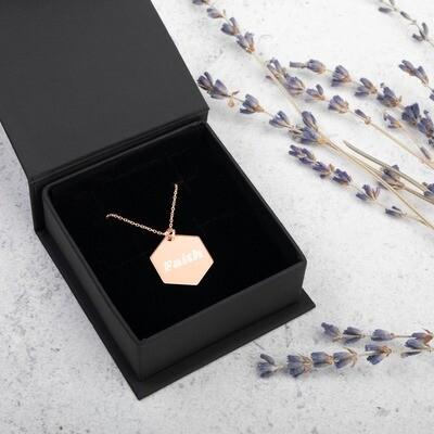 Faith Engraved Silver Hexagon Necklace - Ladies