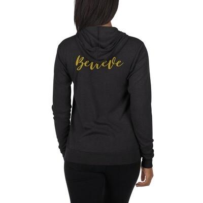 Believe - Gold Unisex zip hoodie - byHISdirection Apparel - Women