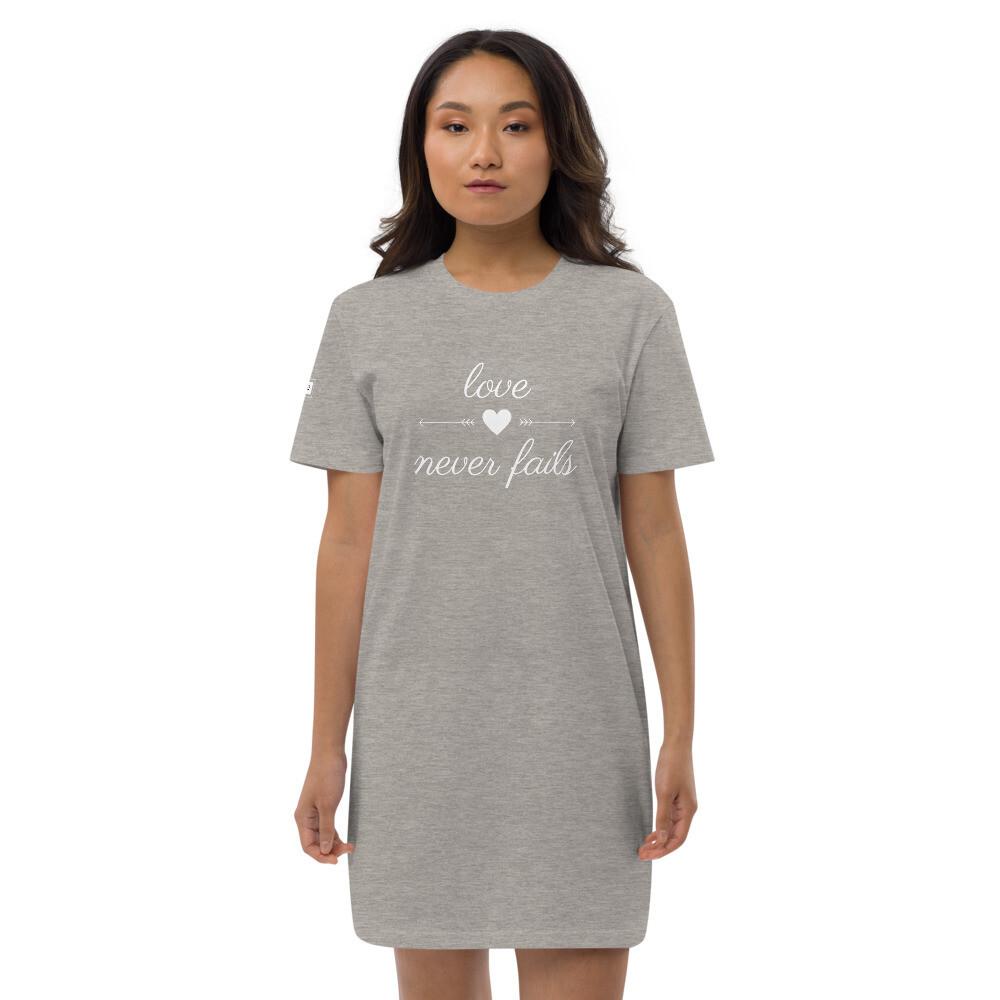 Love Never Fails - Organic cotton t-shirt dress - byHISdirection Apparel - Ladies