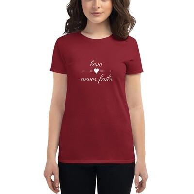 Love Never Fails - Women's short sleeve t-shirt - byHISdirection Apparel