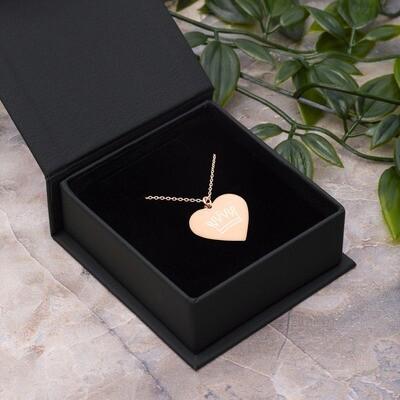 Queen Engraved Silver Heart Necklace
