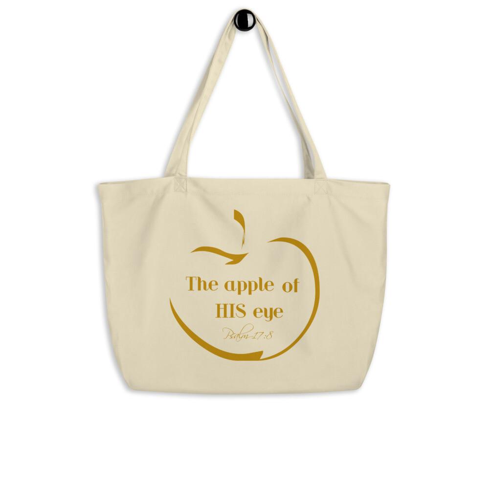 Apple of HIS eye Large organic tote bag