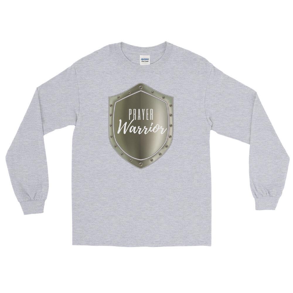 Prayer Warrior Shield Men's Long Sleeve Shirt