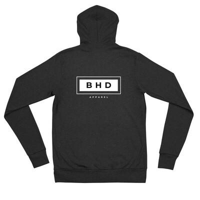 BHD Unisex zip hoodie