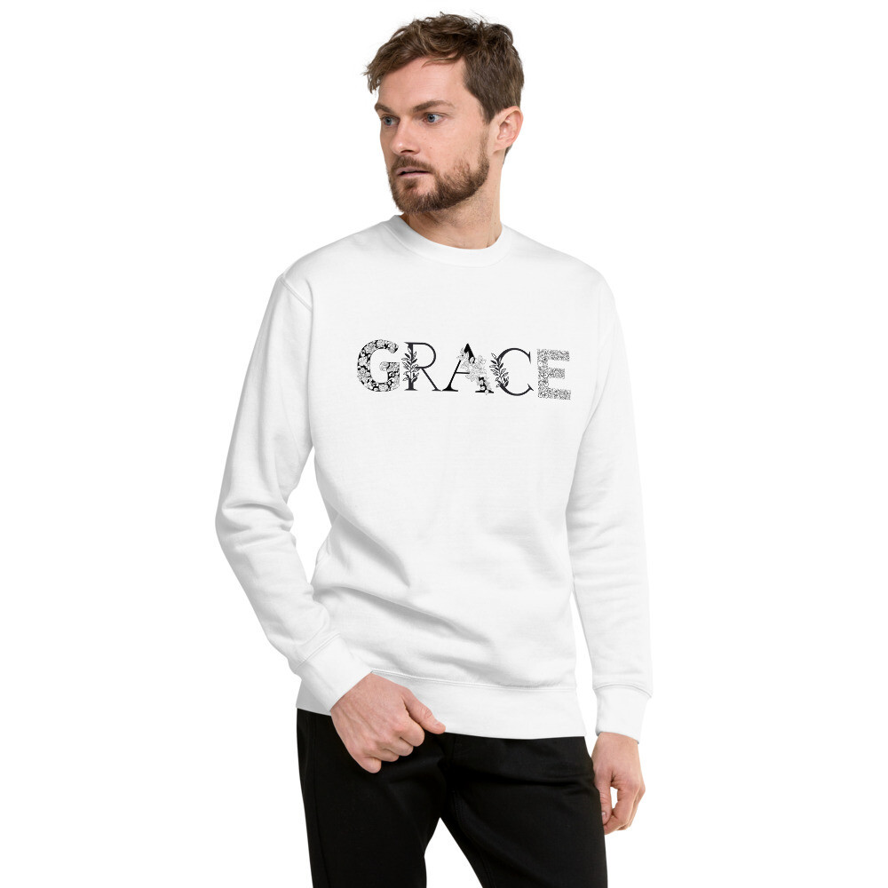 Grace is Black and White Unisex Fleece Pullover