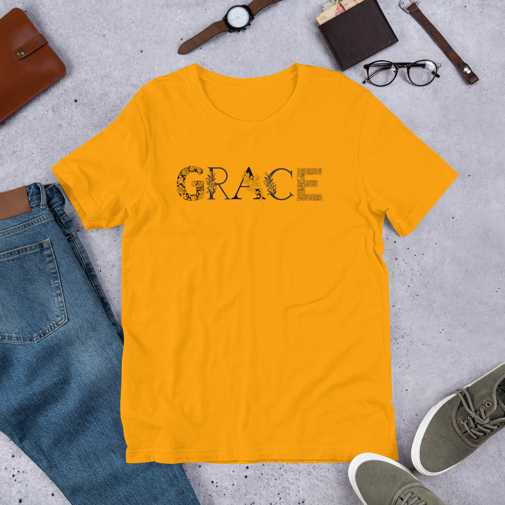 Grace is Black and White Short-Sleeve Unisex T-Shirt