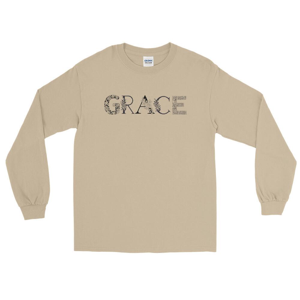 Grace is Black and White Men's Long Sleeve Shirt