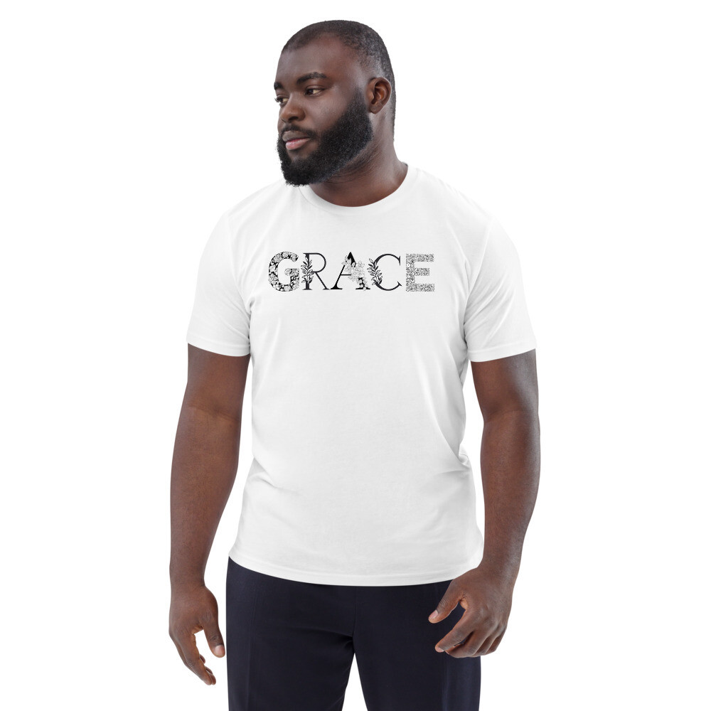 Grace is Black and White Unisex organic cotton t-shirt