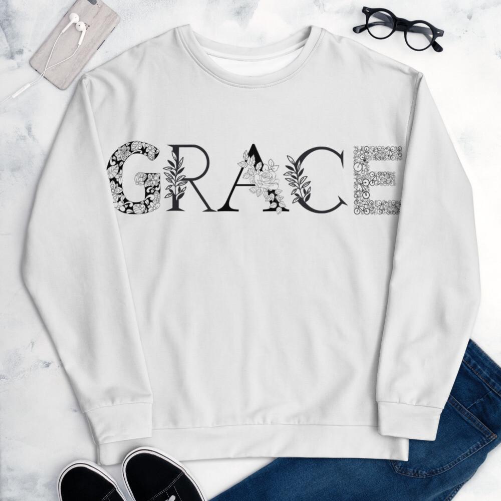 Grace is Black and White Unisex Sweatshirt