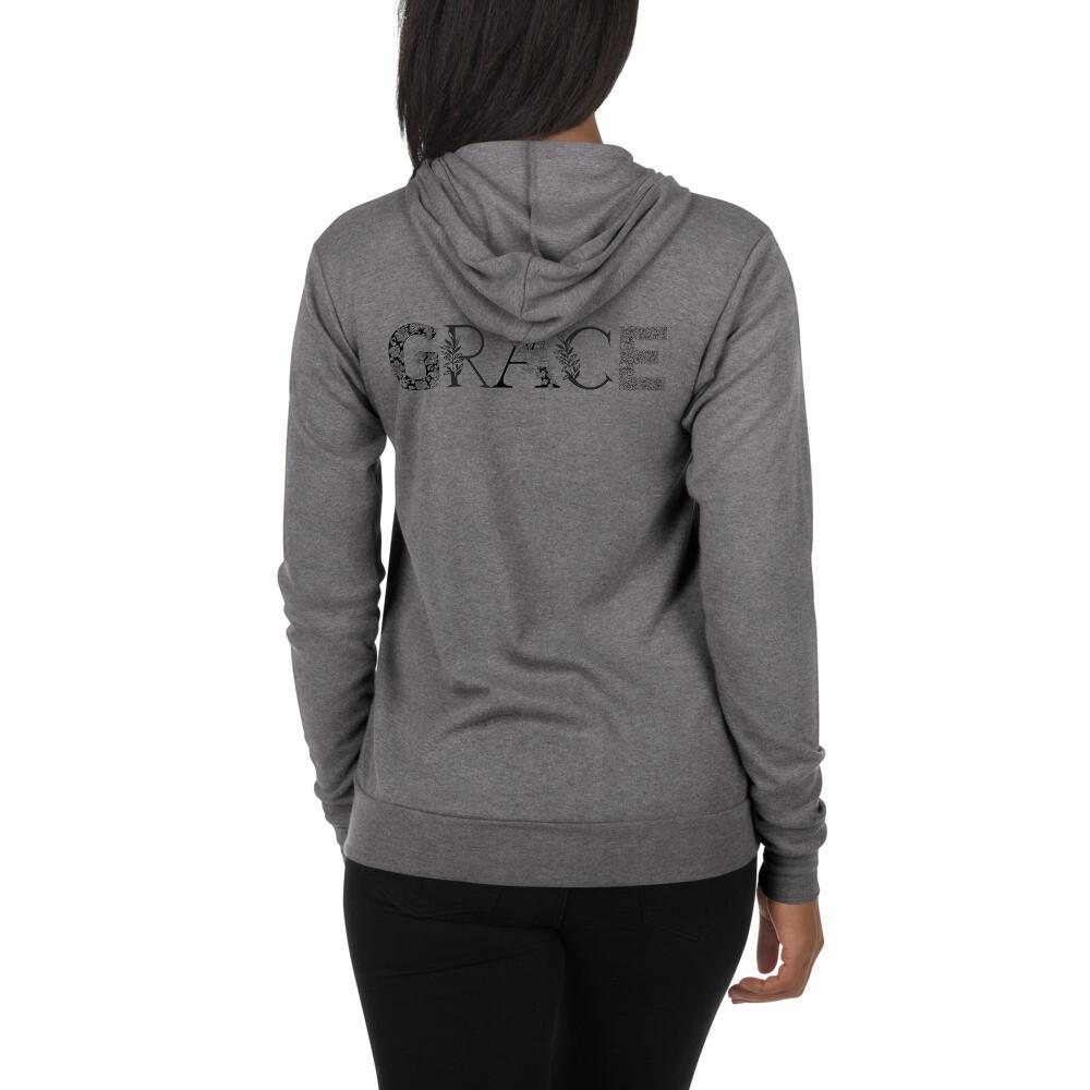 Grace is Black and White Unisex zip hoodie