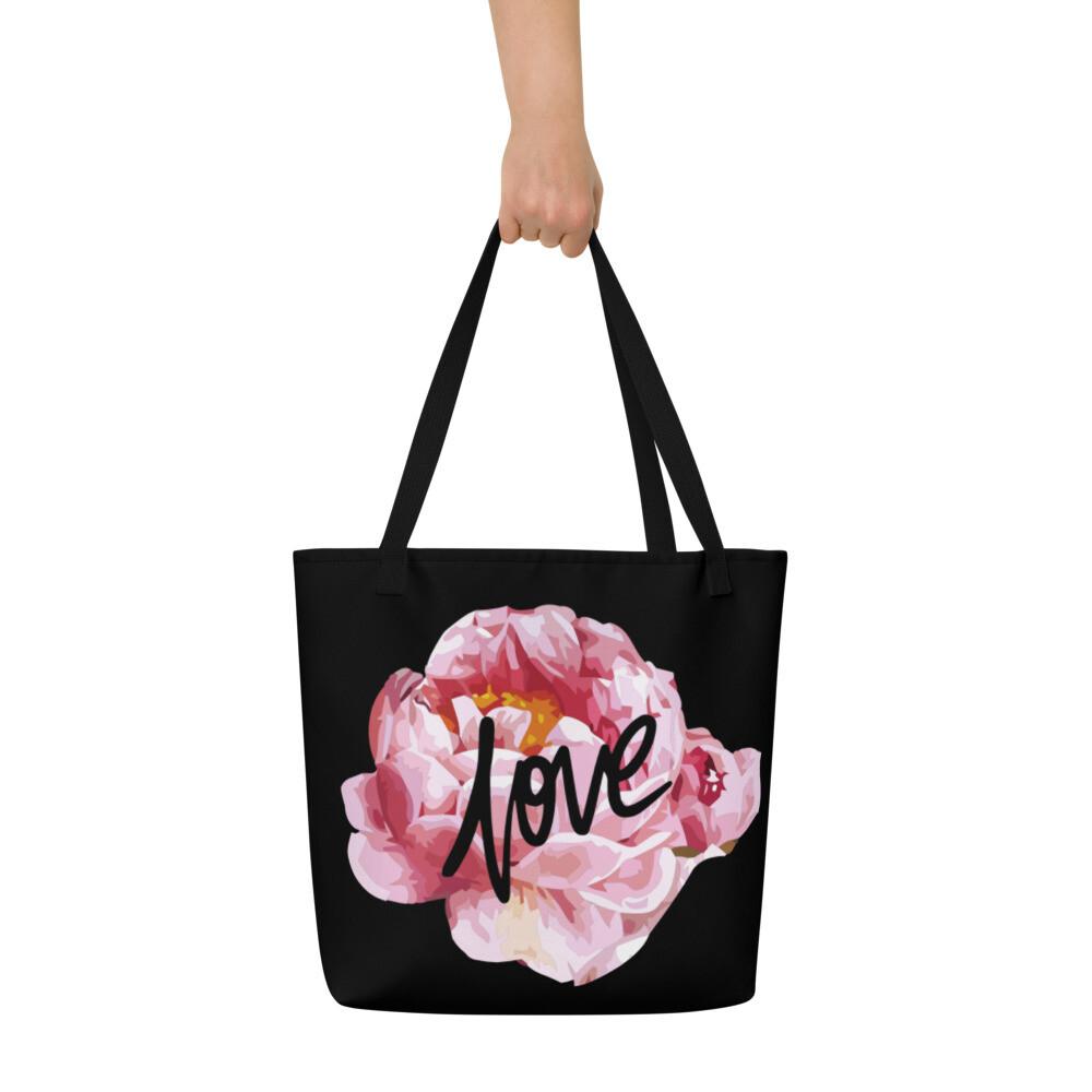 Love Flowers Black Bag