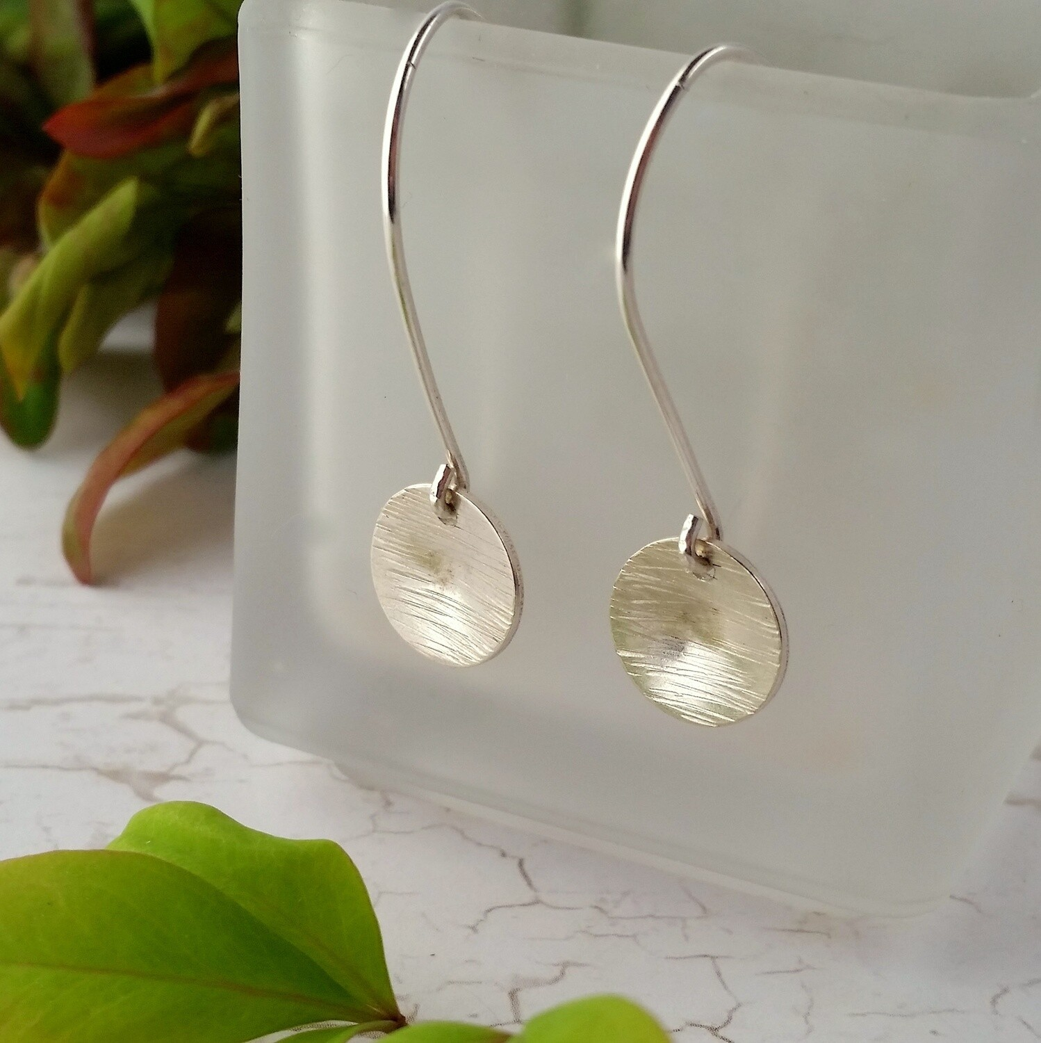 Recycled Sterling Silver Hammered Circle Dangle Earrings. Eco Friendly