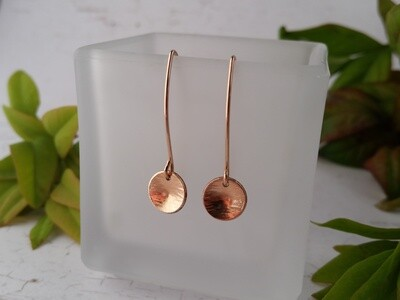Rose Gold Filled Earrings. Small Hammered Circle