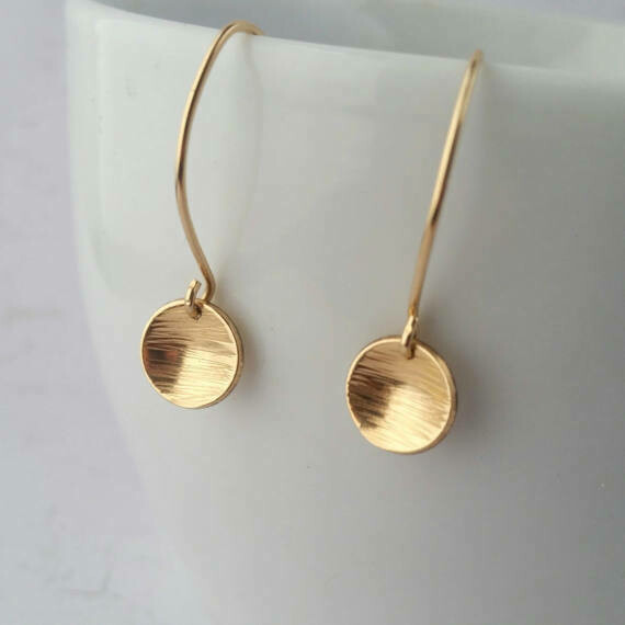 Yellow Gold Filled Earrings. Small Hammered Circle